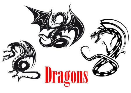 Zwarte gevaar draken in tribal stijl voor tatoeage, mascotte of sprookjesachtige ontwerp Stock Illustratie