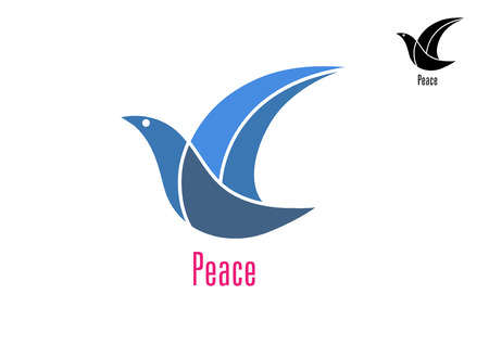 Dove bird with text as a symbol of peace isolated on white background Illustration