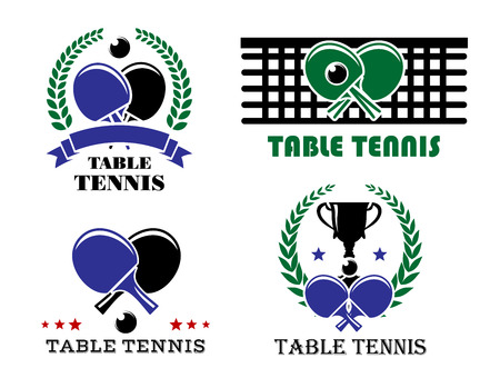 racket sport: table tennis symbols isolated on white for sports design