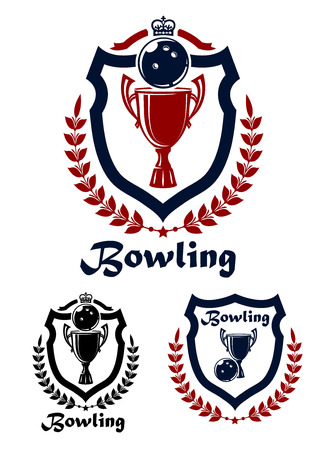 Bowling sport emblems and icons with trophy, laurel wreath and crown for sporting design Vector