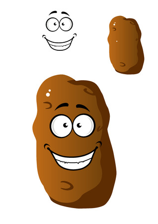 batata: Cartoon farm fresh brown potato vegetable with a beaming happy smile with a second variation with no face and a separate smile element