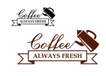 coffeepot: Always Fresh Coffee icon or label with a coffeepot pouring the words - Coffee - over a ribbon banner with the text - Always Fresh - two variants in brown and black Illustration