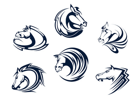 Horse mascots and emblems with stallions, mares and mustangs for equestrian sports or tattoo design Illustration