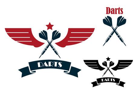 ダーツのエンブレムと、スポーツやレジャーの設計のための紋章の翼を持つシンボル