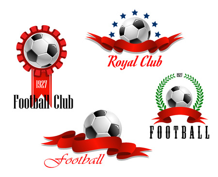 Four different football and soccer emblems with a rosette, laurel wreath and blank red ribbon banners with copyspace, each with a football motif, isolated on white Vector