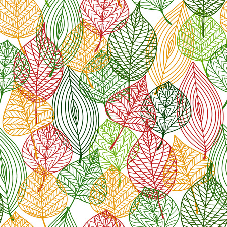 elm: Autumnal stylized leaves seamless background pattern in the colors of autumn with a busy design in square format
