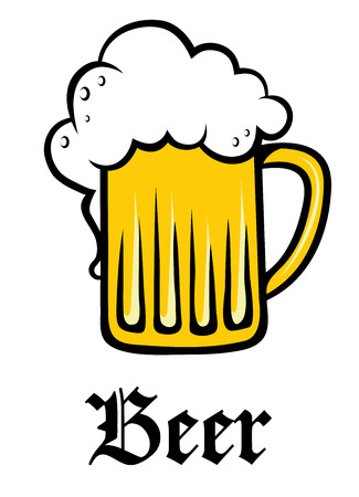 Glass pint tankard of refreshing golden frothy beer or lager overflowing down the sides above the text - Beer -  on white Illustration