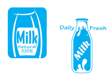 milk products: Fresh milk emblems and symbols isolated on white for dairy products design