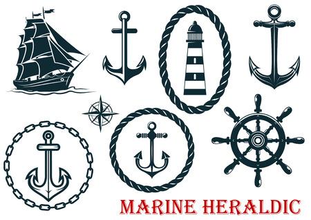 海洋と航海紋章の要素 - ロープ、灯台、アンカー、羊、ステアリング ホイール - 白で隔離されます。