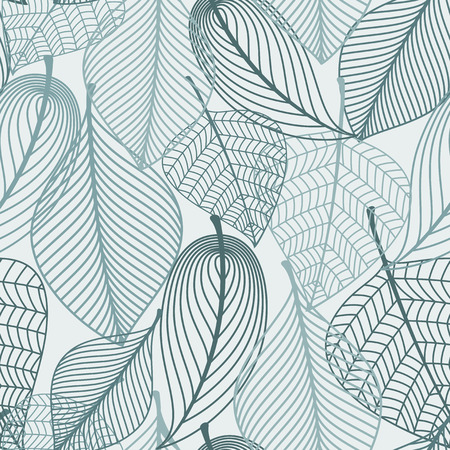 Delicate skeleton leaves background seamless pattern showing the vein detail in outline design in square format suitable for wallpaper, tiles and textile design