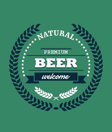 enclosing: Label naturale Birra Premium con una corona di alloro che racchiude il testo - Natural - Birra Premium - e la parola - Benvenuti - a luppolo sotto su uno sfondo verde