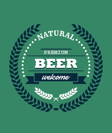 enclosing: Natural Premium Beer label with a laurel wreath enclosing the text - Natural - Premium Beer - and the word - Welcome - with hops below on a green background