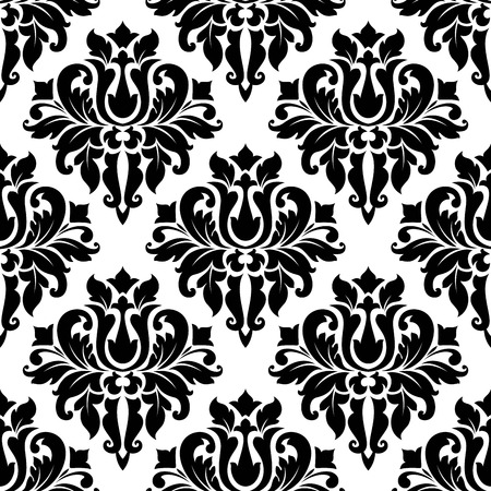 Seamless bold black colored floral arabesque pattern in damask style motifs suitable for wallpaper, tiles and fabric design Stock Vector - 29914863