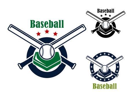baseball bat: Baseball emblems and symbols with base, crossed bats ans ball with text - Baseball - for sports design