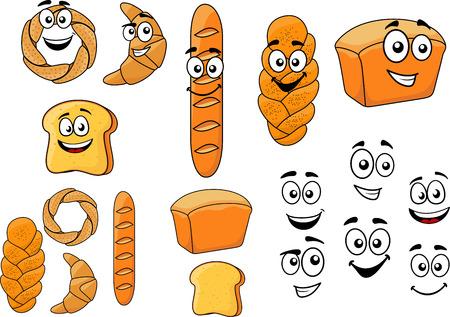 produits céréaliers: pains de dessin animé avec des visages souriants avec une baguette, des croissants, du pain blanc, bagel, pain grillé et pain croustillant tressé isolé sur blanc