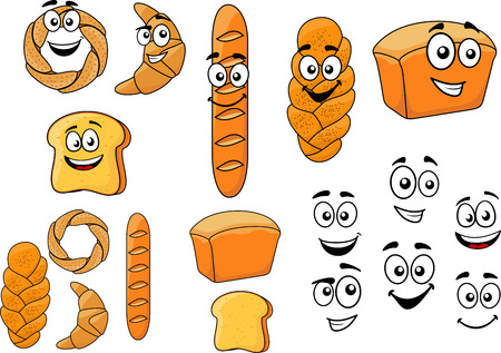 Cartoon breads with happy smiling faces with a baguette, croissant, loaf of white bread, bagel, toast and plaited crusty loaf isolated on white