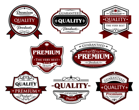 Collection of premium and quality labels or banners for retail industry design with various texts including premium, quality, guaranteed, genuine for retail industry design Vector