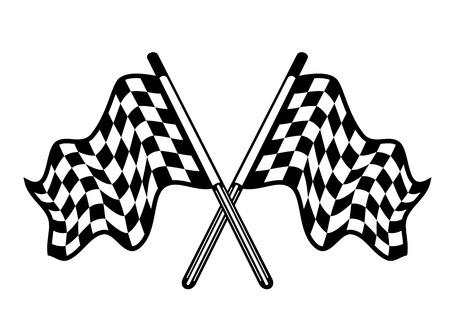 cuadros blanco y negro: Par cruzado de banderas a cuadros del deporte del motor en blanco y negro ondeando en la brisa, aislados en blanco