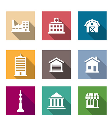Flat buildings icons set on colourful square web buttons depicting industry, hospital, barn, skyscraper, garage, house, communications tower, bank or university and shop Vector