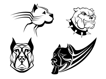 Guard powerful dogs set isolated on white background for tattoo, emblem or security concept design Vector