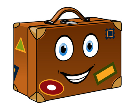 packing suitcase: Felice valigia di cartone animato retr� ben viaggiato con un sorridente etichette viso e di viaggio isolato su bianco per il turismo o la progettazione viaggio Vettoriali