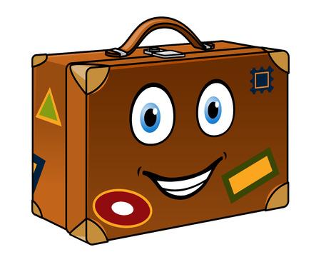 Feliz maleta retro muy transitada de la historieta con una cara sonriente y etiquetas de viaje aislado en blanco para el turismo o el diseño de viaje