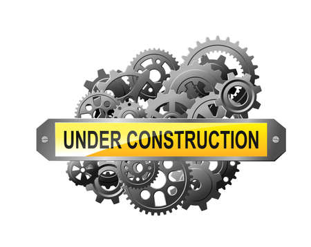 website banner: Under construction web page with gears and pinions for website reconstruction image