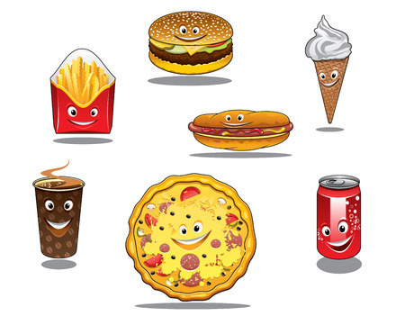 Colorful fast food and takeaway food icons with packet of French fries, burger, ice cream cone, coffee, pizza, hotdog and soda all with happy faces, cartoon style
