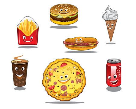 alimentos y bebidas: Iconos de colores de comida r�pida y comida para llevar con paquete de papas fritas, hamburguesas, cono de helado, caf�, pizza, perros calientes y refrescos todos con caras felices, estilo de dibujos animados