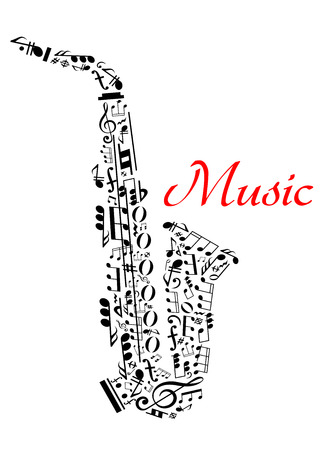saxofón: Saxofón con notas musicales para el entretenimiento y el diseño clásico concierto de música