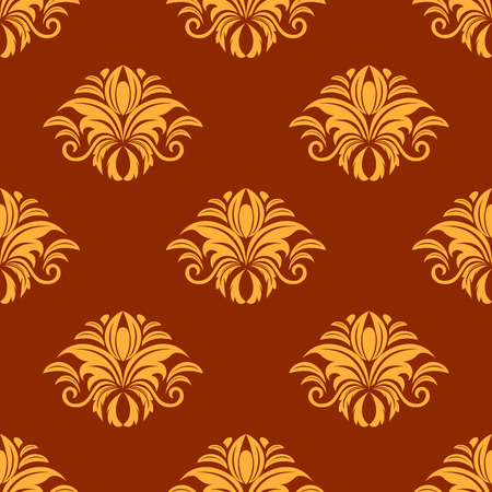 dainty: Dainty yellow colored floral seamless pattern with decorative flower elements isolated over orange colored background in square format