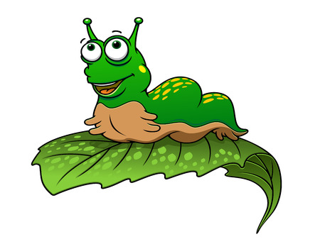 crawling creature: Green cartoon caterpillar insect with smile on tree leaf Illustration