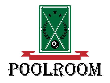 Einsatzzeichen: Poolraum und Billard-Emblem mit einem Pool-Tisch mit gekreuzten Cues und einem Lorbeerkranz �ber dem Wort - Poolraum - mit einem leeren roten Band Banner