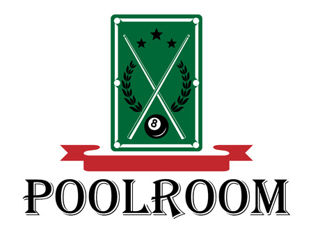 billiards cues: Poolroom and billiards emblem with a pool table with crossed cues and a laurel wreath above the word - Poolroom - with a blank red ribbon banner