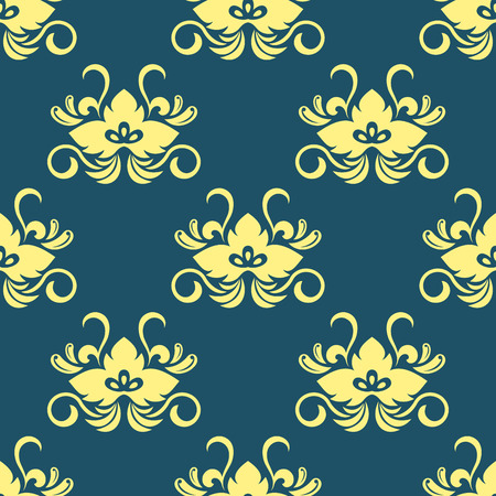 Dainty yellow colored floral seamless pattern with decorative flower elements isolated over blue colored background