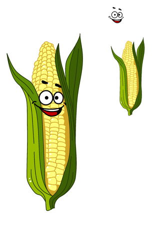 husk: Cheerful smiling cartoon corn vegetable on the cob with a happy face and green leaves isolated on white Illustration