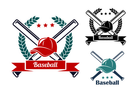 Baseball symbols with laurel wreath, crossed bats and caps for sports design