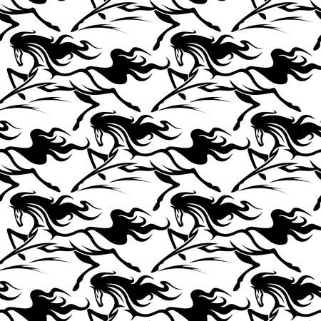 the fastest: Seamless pattern of horse stallions with a black silhouetted repeat motif in square format suitable for equestrian sport, fabric and wallpaper design