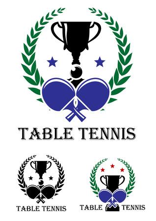 ping pong: Mesa de ping pong emblema para un campeonato con los palos cruzados y un trofeo encerrado en una corona de laurel foliadas