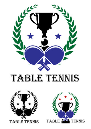 Table Tennis emblem for a championship with crossed bats and a trophy enclosed in a foliate laurel wreath