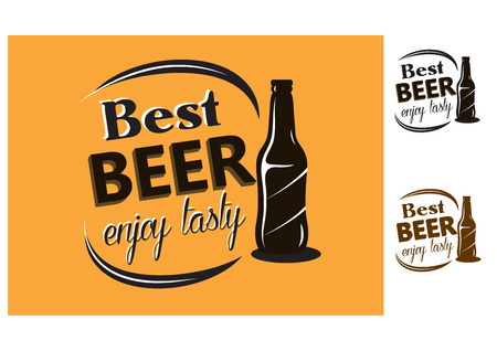 unlabeled: Best Beer - enjoy tasty - poster with an unlabeled bottle of beer and text  for brewery or restaurant design