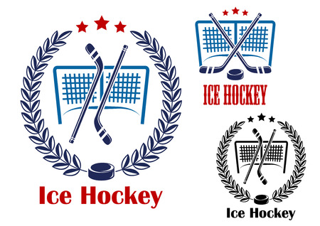 hockey goal: Ice hockey sporting emblems with hockey net, laurel wreath and crossed sticks Illustration