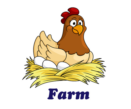 chicken and egg: Farm emblem with a cute hen sitting on her eggs on a bed of straw with the text - Farm - below, cartoon style