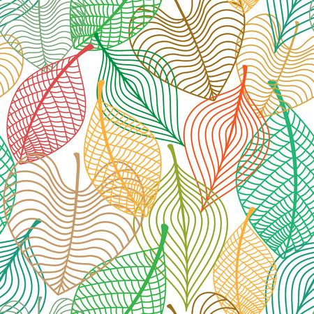 色鮮やかな紅葉のシームレスなパターンを互いに重複の葉季節または背景のデザイン  イラスト・ベクター素材
