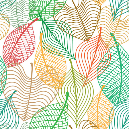 Seamless pattern of autumnal colorful leaves overlap on each other for seasonal or background design