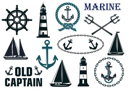 Marine elementy heraldyczne zestaw z kotwami, latarni, jachtów, łodzi, lin i kierownicy Ilustracje wektorowe