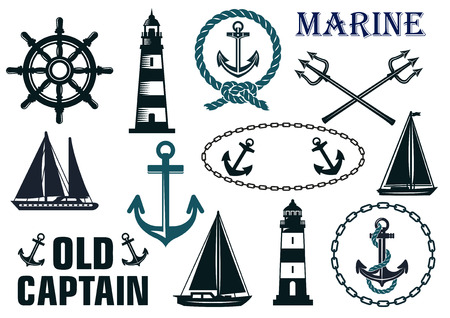 steering: Marine heraldic elements set with anchors, lighthouse, yachts, sailboats, ropes and steering wheel