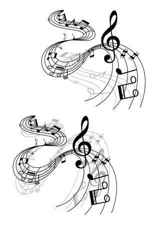 Abstract musical designs with music waves and notes for art background design Vector