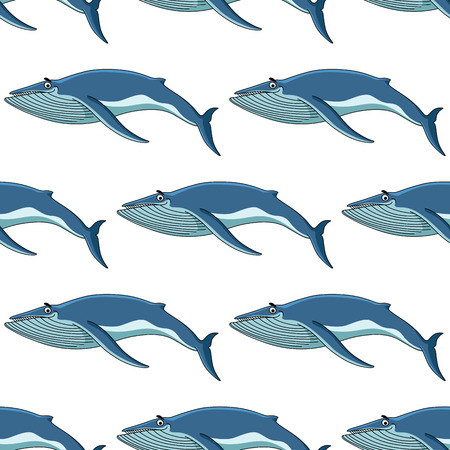 baleen whale: Seamless nautical themed background pattern of blue whales in square format for marine wallpaper and fabric design
