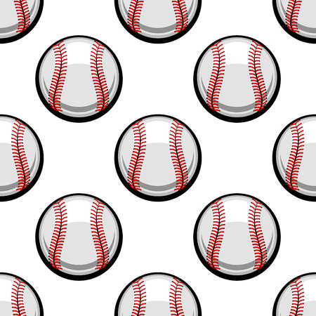 hardball: Seamless background pattern of baseball balls with red stitching in square format for sporting design